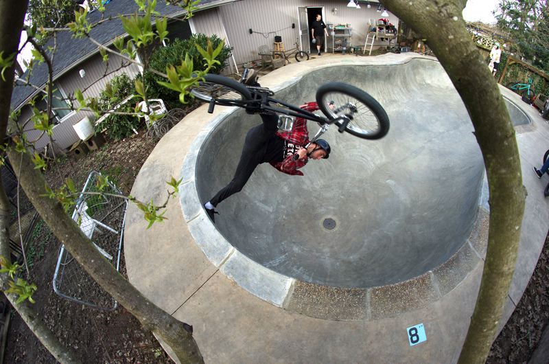 COURTESY: PAUL WILLIAMS - Dean Dickinson, a BMX rider, high school instructor and a highlighted filmmaker at Filmed by Bike with 'The Dirty Sniff,' does his best work shooting inside empty swimming pools. 'We're always looking for new spots to ride,' he says.