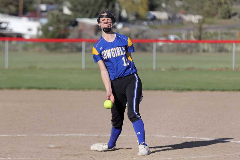 WILL DENNER/MADRAS PIONEER - Crook County's ace pitcher McKuenzie McCormick pitched a complete, seven-inning game with five strikeouts, and was helped by a sure-handed defense.