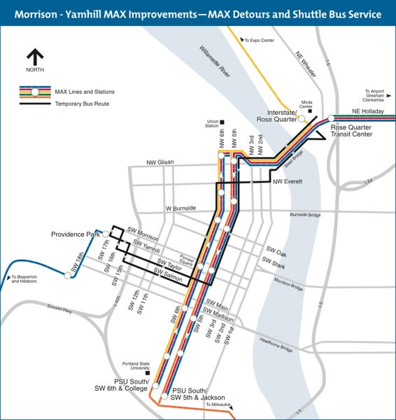 COURTESY TRIMET - The TriMet map shows where MAX and Portland Streetcar lines are disrupted.