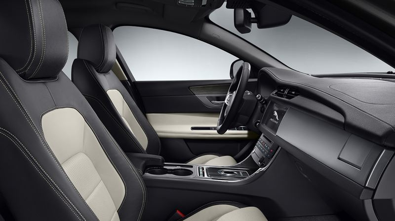 COURTESY JAGUAR - The interior of the 2017 Jaguar XF is comfortable and outfitted with the highest qulaity materials, in keeping with the company's high standards.
