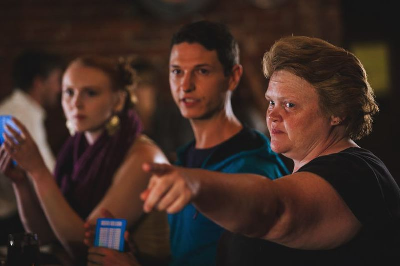SUBMITTED PHOTO - Michelle Leigh, far right, wrote, directed and produced 'More Than Only.' Here she works with her daughter, Beth Dodge, far left, and Jonathan Miles.