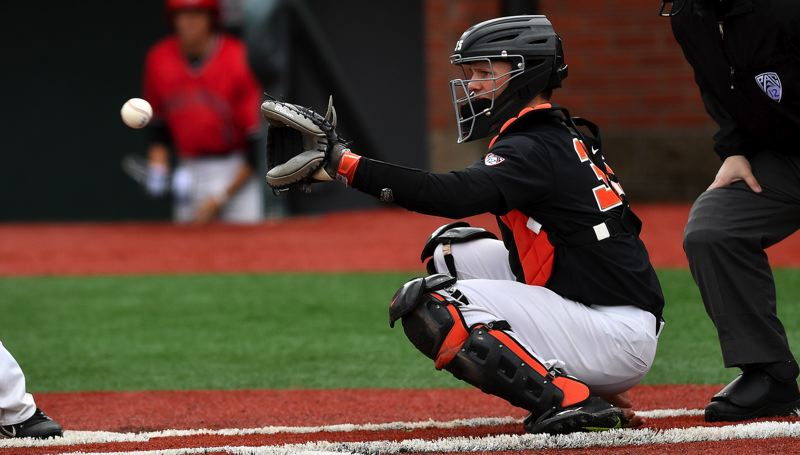 COURTESY: SCOBEL WIGGINS - Freshman catcher Adley Rutschman has stepped in as a solid starter for the No. 1-ranked Oregon State Beavers. After baseball, he'll return to the OSU football team as a kicker.