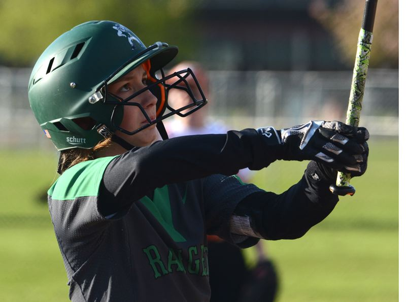 ESTACADA NEWS: DAVID BALL - Estacadas Sara Blankenship prepares to step into the batters box during last weeks 3-1 loss at Gladstone.