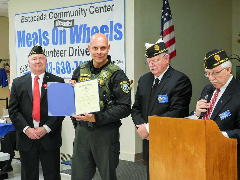 ESTACADA NEWS PHOTO: EMILY LINDSTRAND - Mark Nikolai of the Clackamas County Sheriff's Office was honored as the Estacada law officer of the year.