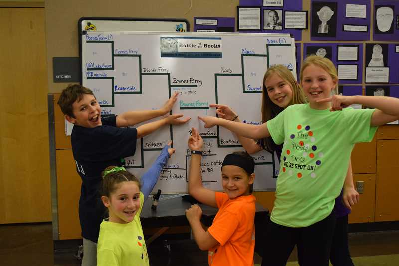 SUBMITTED PHOTO - From left, JJ Bartlett, Kenley Whittaker, Campbell Lawler, Kate Gore and Cammy Gore celebrate their regional win against Boeckman Creek Primary in March.