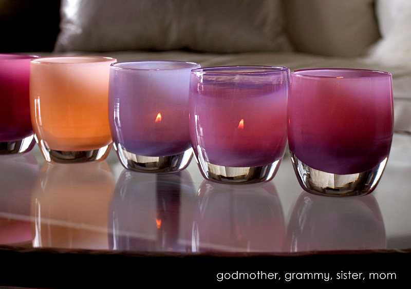 SUBMITTED PHOTO - Votive candleholders from glassybaby have unique names, such as godmother, grammy, sister and mom.