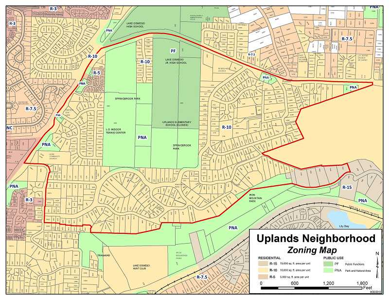 MAP COURTESY OF THE CITY OF LAKE OSWEGO - Lake Oswego's Uplands neighborhood is generally bordered by Country Club Road to the north, Boones Ferry Road to the west, Oswego Lake Country Club to the east and Iron Mountain Park to the south. The neighborhood is home to Springbrook Park and Uplands Elementary School.
