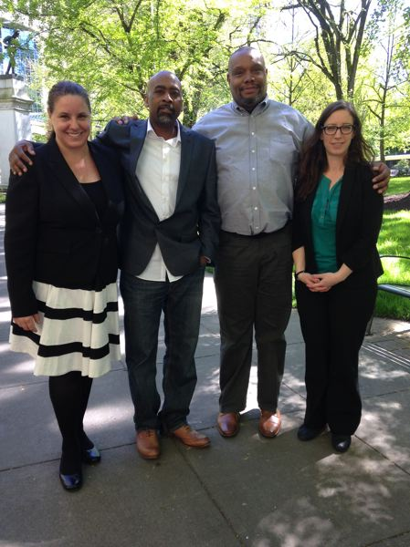 BETH SLOVIC - Lawyers Diane Sykes (left) and Ashlee Albies (right) with clients Charles Morgan and Jason Williams.