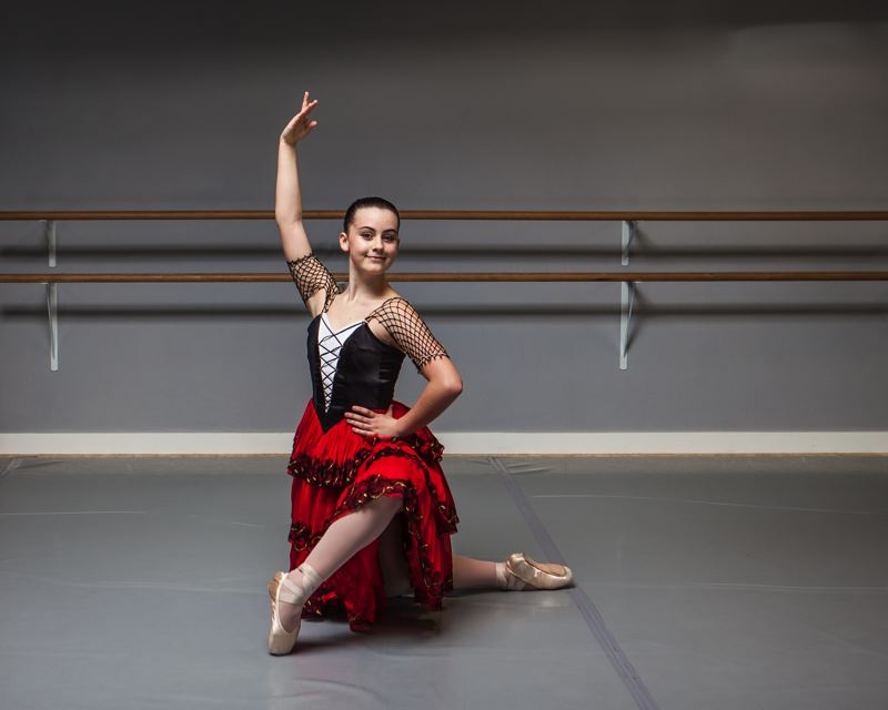SUBMITTED PHOTO - Calla Lichtenwalter, 15, of Clackamas Web Academy rehearses for Classical Ballet Academy's 'Don Quixote.'