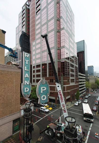 PAMPLIN MEDIA GROUP: JAIME VALDEZ - The Portland sign at the Arlene Schnitzer Concert Hall was installed in 1984 and is undergoing a renovation in 2017.