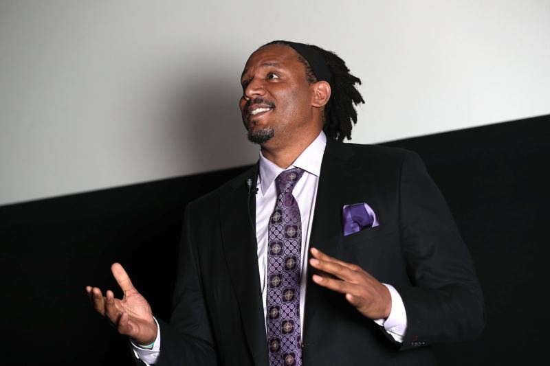 TRIBUNE PHOTO: JAIME VALDEZ - Retired Portland Trail Blazer basketball player Brian Grant told kids his inspiring backstory.