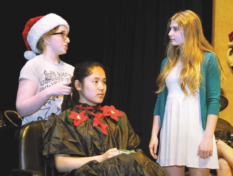 "SETH GORDON - From left: Anna Virginia Millage, Amy Fouch and Hannah Galambos rehearse for C.S. Lewis Academy's upcoming production of ""Steel Magnolias"" Friday and Saturday at George Fox University's Wood-Mar Auditorium."