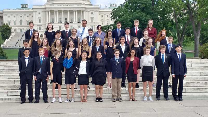 SUBMITTED PHOTO - Wood's team of 36 eighth-graders finished third in the nation last week in Washington D.C.