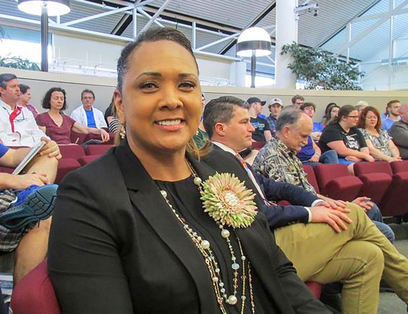 OUTLOOK PHOTO: TERESA CARSON - Katrise Perera, pictured at the May 4 Gresham-Barlow School Board meeting, will become the district's new superintendent July 1.