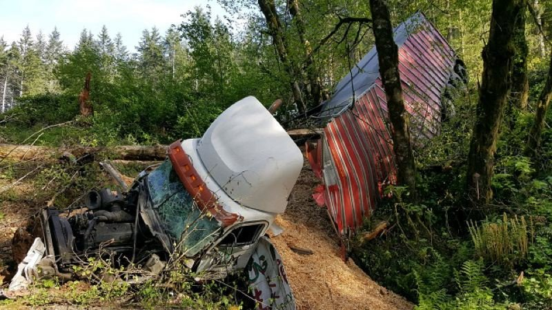 COURTESY PHOTO: KOIN NEWS 6  - Two trucks collided and one driver died in a Highway 6 crash near Banks, May 9, 2017 (OSP).