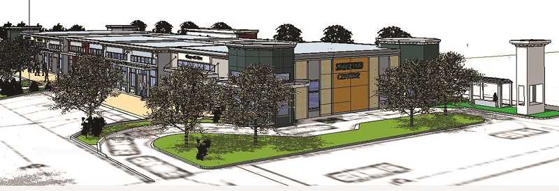 COURTESY GRAPHIC - The east side of the Pacific Avenue building would include a drive-thru coffee spot.