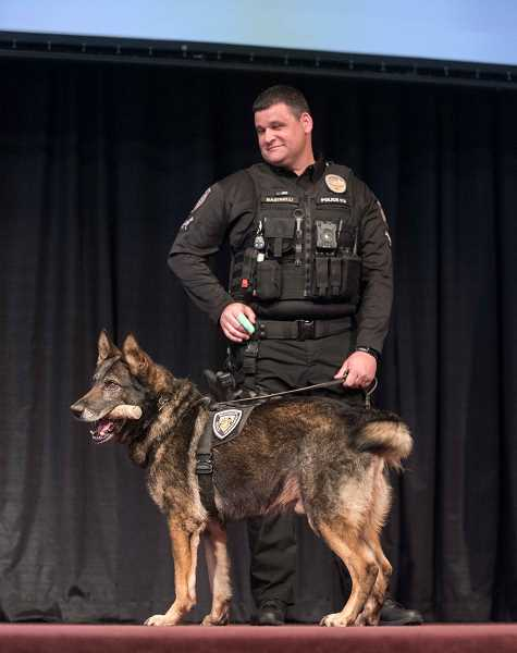 PHOTOS COURTESY OF DIANA POWE - Beaverton Police Officer Anthony Bastinelli and his K-9 partner Kahz were honored during the 2017 Police Service Awards. Kahz recently retired due to a heart condition.