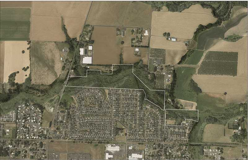 COURTESY PHOTO - The green, wooded area outlined in white, just north of the city of Cornelius would be the site of a new Metro-owned and operated nature park.