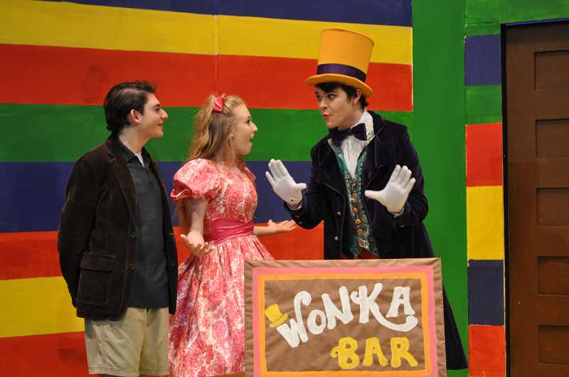 """BLAIR STENVICK - Jacob Resnikoff, Emily Rinehart and Ben Caldwell star in Tigard High's """"Charlie and the Chocolate Factory."""""""