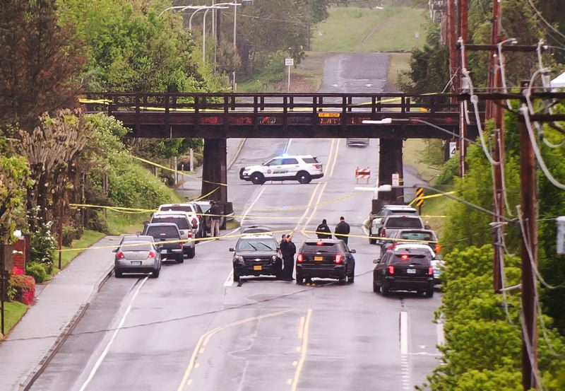 OUTLOOK PHOTO: JOSH KULLA - The Multnomah County Major Crimes Team is investigating a suspicious death that reportedly occurred on or near train tracks at the junction of Northeast 223rd Avenue.