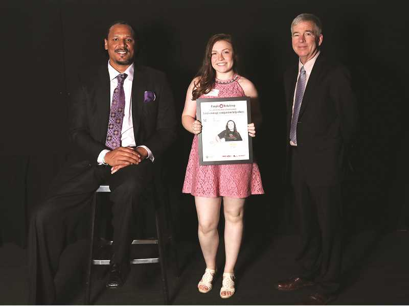 JAIME VALDEZ - L-R: Former Blazer star Brian Grant, MHS sophomore Grace Walburn-Jones and Pamplin Media President Mark Garber at Monday's Amazing Kid recognition ceremonies, held at OMSI.