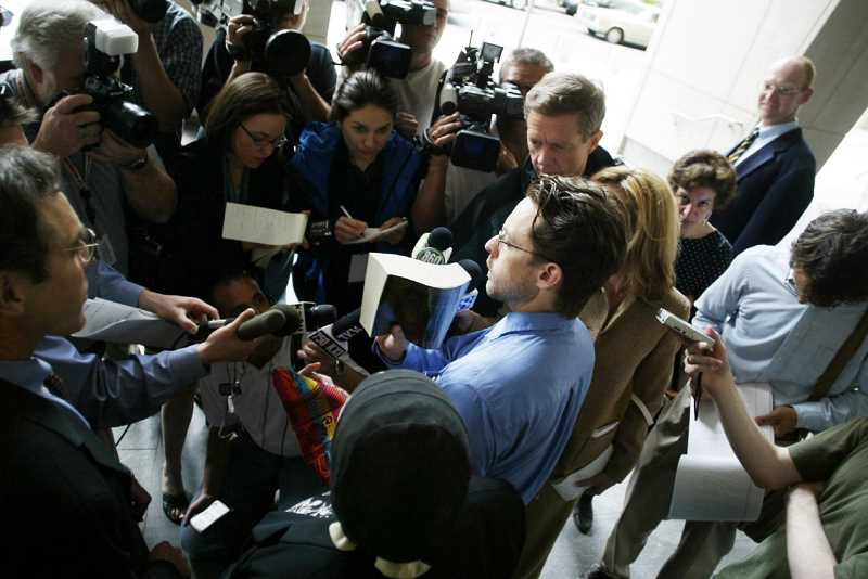 PAMPLIN MEDIA GROUP FILE PHOTO - Addressing a crowd of supporters and reporters in 2004 after his release from federal custody, Mayfield said, I want to thank my family and friends who were supporting me, through this, what I would call a harrowing ordeal. I just want to say, God is great, there is no God but God.