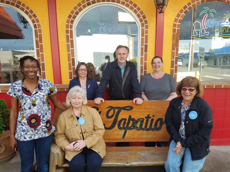 COURTESY PHOTO - Members of the St. Helens Economic Development Corp. Main Street Program and St. Helens City Council sit outside El Tapatio restaurant. From left to right: Jasmine Jordan, Judy Thompson, Susan Conn, Al Petersen, Destinee Ryder and Eddie Dunton.