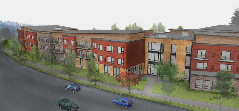 COURTESY OF ANKROM MOISAN ARCHITECTS - The Sherwood Planning Commission has approved construction of a three-story, 143,400-square-foot assisted living/memory care facility, which will be located to the west of Providence Medical Groups Sherwood office with an entrance along Edy Road (which be to the far left of this rendering).