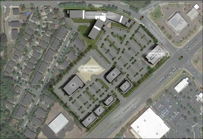 COURTESY OF DEACON DEVELOPMENT GROUP AND MACKENZIE ARCHITECTS AND ENGINEERING - A 46,000-square-foot commercial retail/restaurant space is also planned as part of the planned Cedar Creek Plaza, which will be built to the south of the Providence Medical Group Sherwood building, along Highway 99W. A right-turn-only entrance into the complex is planned for southbound traffic on Highway 99W.