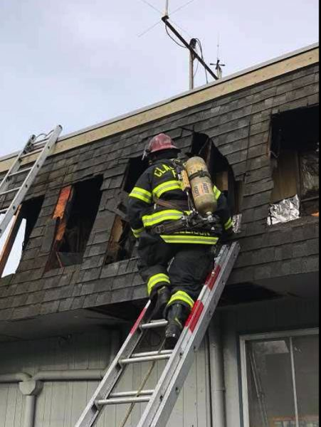 PHOTO COURTESY: CLACKAMAS FIRE - Firefighters were able to contain the blaze at Damascus Station 19, with no injuries and damage contained to the attic space and garage.