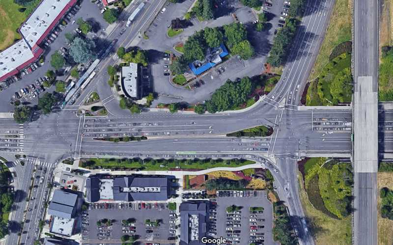 IMAGE: GOOGLE MAPS - Wilsonville Road intersections with Boones Ferry and I-5 accesses are  some of the focus of the Citys consideration of red light cameras.