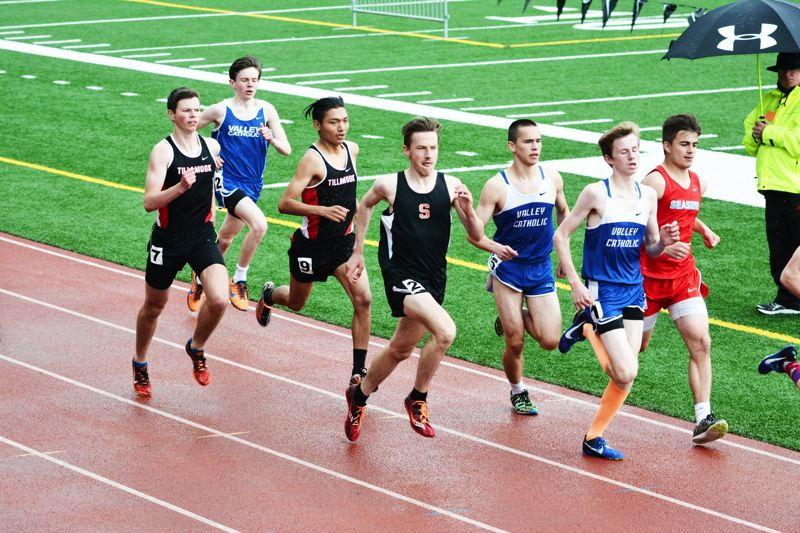 SPOTLIGHT PHOTO: JAKE MCNEAL - Indians junior John Kavulich won the Cowapa League boys' 3,000-meter run in 9 minutes, 6.14 seconds and followed Astoria senior Lucas Caruana (4:11.74) in the 1,500 run (4:12.77).