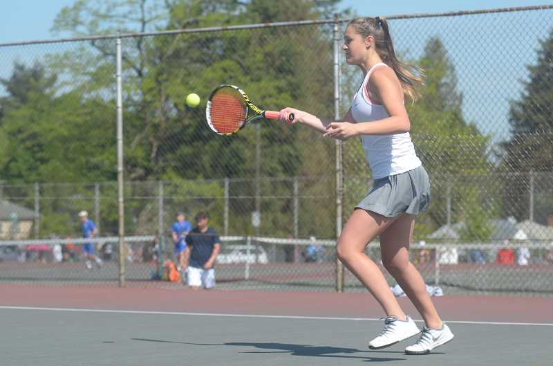 SPOKESMAN PHOTO: COREY BUCHANAN - Wilsonville doubles player Leah Tate reached the quarterfinals of the district tournament doubles bracket with teammate Grace Love.