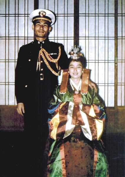 COURTESY OF MOON AND SUZY LEE - Moon and Suzy Lee celebrated a traditional Korean wedding in 1961, when she dressed in a traditional Korean costume and he wore his military uniform.