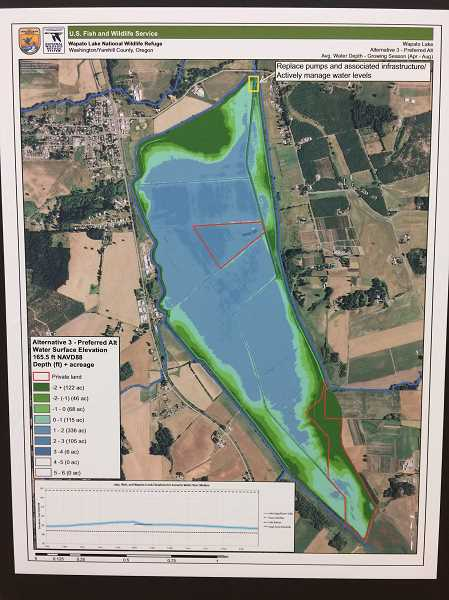 COURTESY GRAPHIC - This map shows a preferred water level that would range between zero and three feet deep.