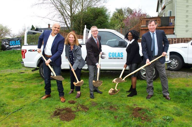 COURTESY PCRI - Pictured at the April 7 groundbreaking for The Beatrice Morrow Building are (from left) Andrew Colas of Colas Construction, Jill Sherman of Gerding Edlen, Mayor Ted Wheeler, PCRI Executive Director Maxine Fitzpatrick and Commissioner Dan Saltzman.