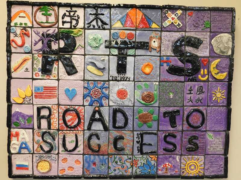 ESTACADA NEWS PHOTO: EMILY LINDSTRAND - Students in the Road to Success program worked with local artist Am Griswold to create an art piece to celebrate the programs first year.