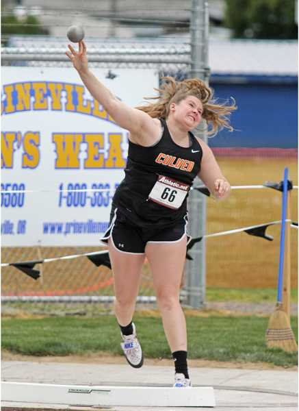 WILL DENNER/MADRAS PIONEER - ulver junior Catylynn Duff dominated the Columbia Basin Conference girls' field events by winning the shot put and discus, earning her a place at Thursday and Friday's 2A state meet in Eugene. In the discus, Duff set a lifetime best of 128 feet, 8 inches, which was the furthest distance thrown at the 2A girls level this season.