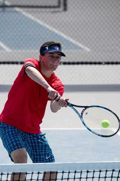LON AUSTIN/FOR THE PIONEER - Ryan Lerice (above) and Eric Sullivan were one match away from qualifying for state after beating a team from Estacada, 6-1, 6-4. But, in the quarterfinals match, Leriche and Sullivan lost to Jed Kizziar and Jacob Gurney of Sisters in three sets, 6-4, 2-6, 4-6.