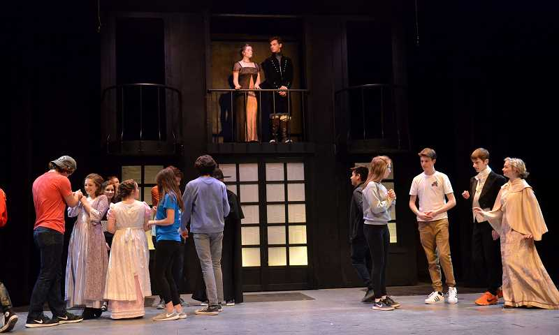 SPOKESMAN PHOTOS: VERN UYETAKE - Ashlyn Rose, top left, and Nathan Rasmussen, top right, rehearse a scene from 'Pride and Prejudice.'