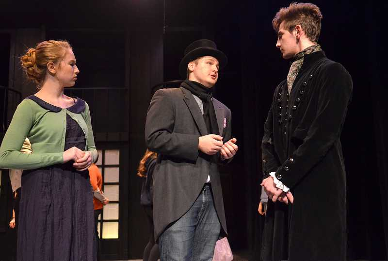 SPOKESMAN PHOTO: VERN UYETAKE - Freshman Averyl Hartje, left, and Nathan Rasmussen, right, play the leads in Wilsonville High's production of 'Pride and Prejudice.'