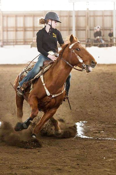 PHOTO CREDIT: KIM SNOOK - Lions junior Braya Hutton rode to silver medals in barrels and figure 8 in her first Oregon High School Equestrian Teams State Meet.