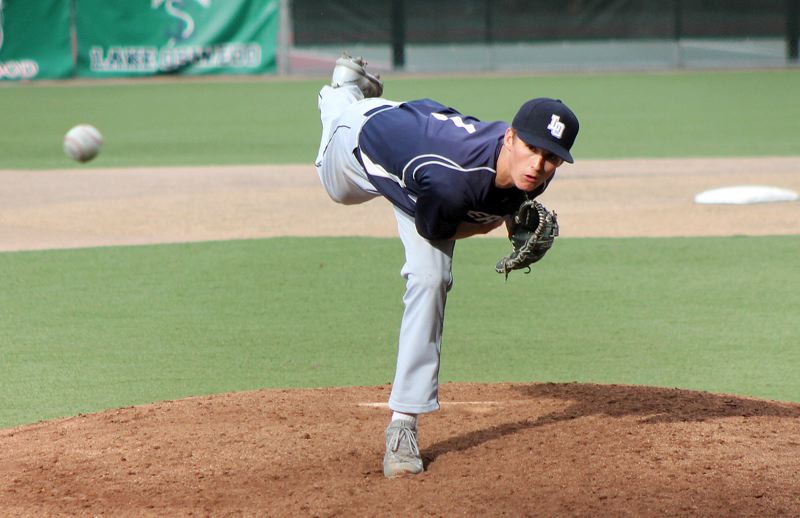 REVIEW PHOTO: ANDREW KILSTROM - Lake Oswego senior right-hander Jake Dukart threw five innings of no-hit ball before settling for a no-decision against West Linn on Friday.