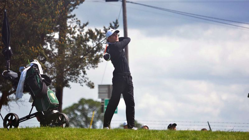 TIMES PHOTO: MATT SINGLEDECKER - Jesuit senior Nick Timm shot a 70 in the first round of the Class 6A state tournament.