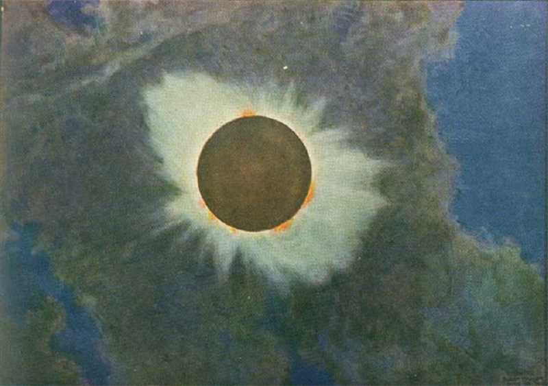 SUBMITTED PHOTO - On June 8, 1918, an artist/physicist, Howard Russell Butler, was a member of a U.S. Naval Observatory team that traveled to Baker City to observe the total solar eclipse — the last time an eclipse stretched across the U.S. Butler painted the now-famous depiction of the event.