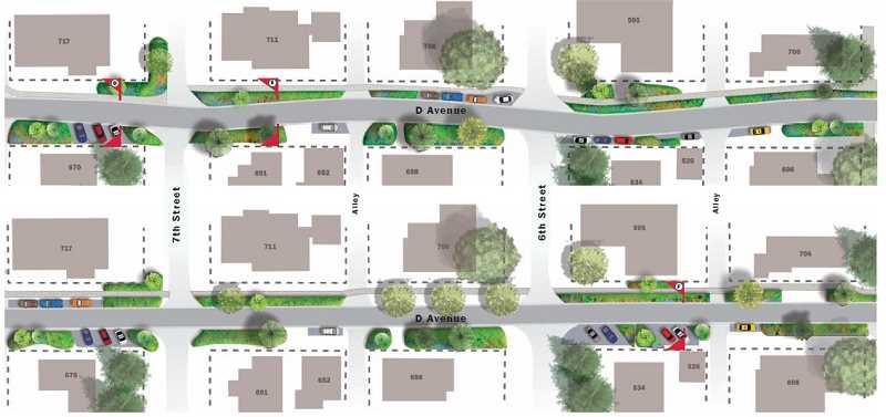 SUBMITTED PHOTO: CITY OF LAKE OSWEGO - One of the big decisions that planners will soon need to make: Should D Avenue stick with its current straight alignment or add a slight back-and-forth curve to help slow down traffic? This image shows both designs on a portion of the road around Sixth and Seventh streets.