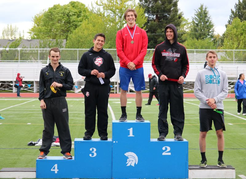 REVIEW/NEWS PHOTO: JIM BESEDA - La Salle Prep's Sean Hamel won the boys' javelin with a throw of 175-5 during Friday's Northwest Oregon Conference track and field finals at Hare Field in Hillsboro.