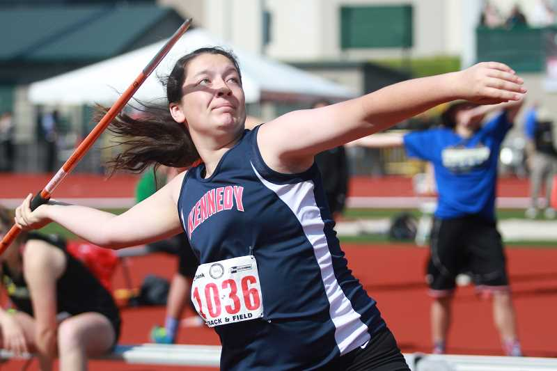 PHIL HAWKINS - Kennedy junior Abby Frey finished in 7th place in the javelin competition at the 2017 2A Girls State Track and Field Championships on Thursday.