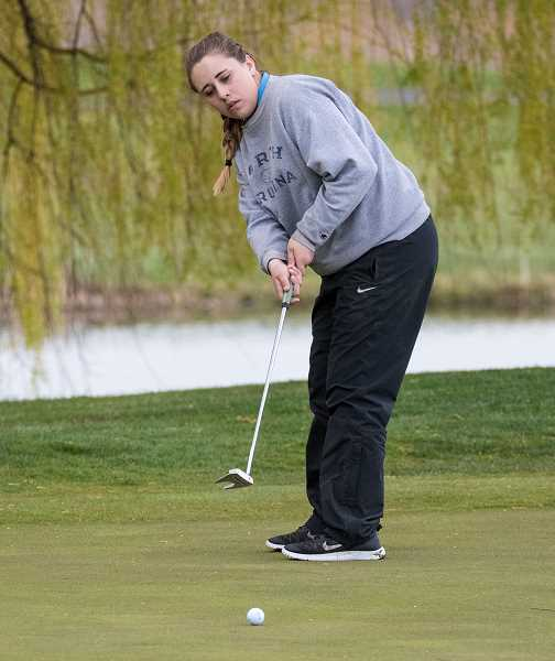 LON AUSTIN/CENTRAL OREGONIAN - Crook County junior Macy Goehring, who is shown in a previous event, was the lone Cowgirl qualifier to the Class 4A/3A/2A/1A State Golf Championships. Goehring finished 16th in the final standings with rounds of 99-93-192.