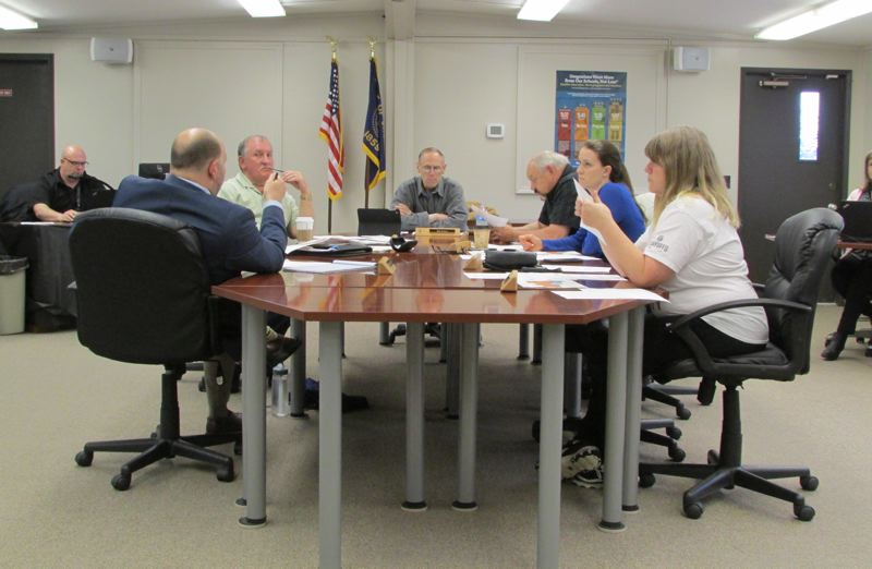 SPOTLIGHT PHOTO: NICOLE THILL - The St. Helens School District school board during a meeeting Tuesday, May 16, discusses potential attendance boundaries for the elementary schools in fall when Columbia City Elementary School. The board has revised and tweaked plans since late April and will likely approve a final version at next week's regular board meeting.